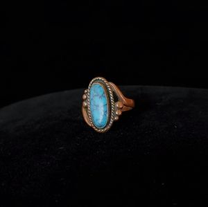 Bell Copper Turquoise Ring Vintage Southwestern